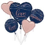 Bouquet Navy Wedding Foil Balloon P75 Packaged