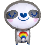 Junior Shape Sloth with Rainbow Foil Balloon S50 packaged