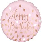 Standard Blush Birthday Foil Balloon S40 Packaged