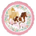 """Standard """"Beautiful Horses"""" Foil Balloon Round, S40, packed, 43 cm"""