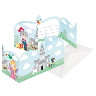 8 Invitations & Envelopes Princess & Knight