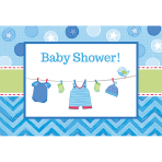 8 Invitations & Envelopes Shower With Love - Boy 15.8 x 10.8cm