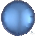 "Standard ""Satin Luxe Azure"" Foil Balloon Round, S15, packed, 43cm"