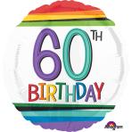 "Standard ""Rainbow Birthday 60"" Foil Balloon Round, S40, packed, 43cm"