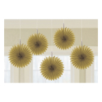 5 Fan Decorations Gold Paper 15.2 cm
