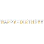 Letter Banner Birthday Accessories Silver & Gold Foil 240 cm
