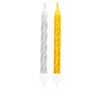 10 Spiral Candles Gold / Silver Height 6.3 cm