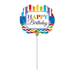 Mini Shape Happy Birthday Bright Stripe & Chevron Foil Balloon A30 Bulk
