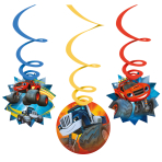 6 Swirl Decorations Blaze,80cmFoil, 2xred, 2xblue, 2xyellow