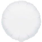 "Standard ""Metallic White"" Foil Balloon Round, S15, packed, 43cm"