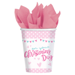 8 Cups Christening Pink Paper 266 ml