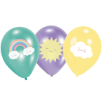 "6 Latex Balloons Rainbow & Cloud 27.5 cm / 11"""