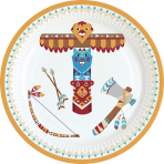 8 Plates Tepee & Tomahawk Paper Round 17.7 cm