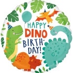 Standard Dino-Mite Party Foil Balloon circle S40 packaged
