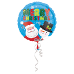 "Standard ""Santa & Snowman Christmas"" Foil Balloon round, S40, packed, 43 cm"