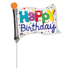 "Mini Shape ""Happy Birthday Flag"" Foil Balloon, A30, bulk, 25 x 20 cm"