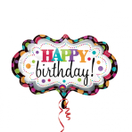 """SuperShape """"Happy Birthday Marquee"""" Foil Balloon, P35, packed, 69 x 41 cm"""