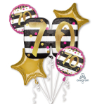 "Bouquet ""Pink & Gold Milestone 70"" Foil Balloon, P75, packed"