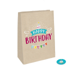 4 Paper Bags with Stickers My Birthday Party 14.7 x 21 cm