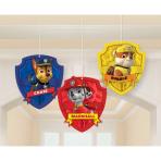 3 Honeycomb Decorations Paw   Patrol Paper 17 cm