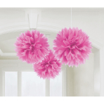 3 Fluffy Decorations Bright Pink Paper 40.6cm