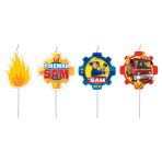 4 Mini Character Candles Fireman Sam 2017 Height 7.3 cm