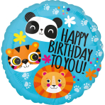 Standard Lion Tiger and Panda Happy Birthday Foil Balloon S40 packaged