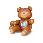 Multi Balloon Happy Birthday Bear Foil Balloon A75 Packaged 43 x 48 cm