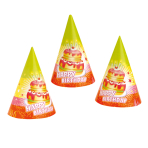 6 Party Cone Hats Happy Birthday