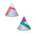 12 Party Cone Hats Young And Fab Paper / Foil Height 9.5 cm