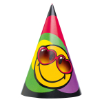 6 Party Cone Hats Smiley Express Yourself Paper Height 16.1 cm