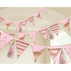 Pennant Banner Rose Gold      Birthday Paper 255 cm