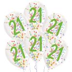 "6 Latex Balloons Droplets 21 Confetti Birthday 1C Confetti Filled Paper 27.5 cm / 11"""
