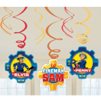 6 Swirl Decorations Fireman Sam 2017 Foil / Paper 61 cm