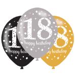 "6 Latex Balloons Age 18 Sparkling Birthday 27.5cm/11"""