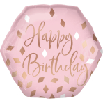 Supershape Blush Birthday Foil Balloon P30 Packaged
