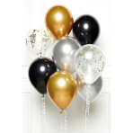 DIY Balloon Bouquet Black Gold Silver 8 Balloons
