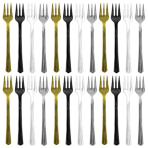 24 Cocktail Forks Plastic Assorted (Black, Silver, Gold, White) 10.4 cm