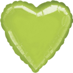 Standard Heart Metallic Lime Green Foil Balloon S15 Bulk