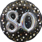 "Multi-Balloon Holographic ""Sparkling Birthday 80"" Foil Balloon, P75, packed, 91 cm"