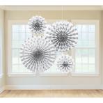 4 Fan Decorations Glitter White 20.3/30.4/40.6 cm
