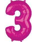 "26"" Number '3' Pink Foil Balloon P30 packaged 43cm x 66cm"