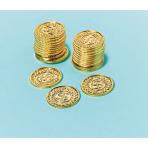144 Gold Coins Plastic 3.4 x 3.4 cm