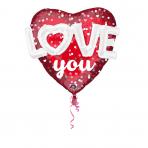 "Mulit-Balloon ""Love Hearts & Dots"" Foil Balloon, P75, packed, 91 x 91cm"