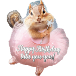 "Junior Shape ""Avanti Ballerina Birthday Chipmunk"" Foil Balloon  , S60, packed, 38 x 48cm"