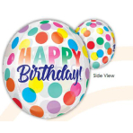 """Clear Orbz """"Happy Birthday Big Dots"""" Foil Balloon Clear, G20, packed, 38 x 40cm"""
