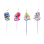 4 Mini Character Candles Shimmer  & Shine Height 7.3 cm