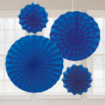 4 Fan Decorations Glitter Bright Royal Blue Paper 20.3 cm / 30.4 cm / 40.6 cm