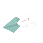 8 Invitations and Envelopes Rainbow & Cloud