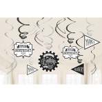 12 Swirl Decorations Chalkborad Birthday Foil / Paper 61 cm